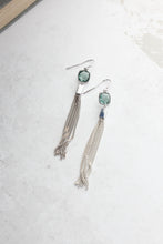 Load image into Gallery viewer, Blue and Cream Chain Tassle Earrings