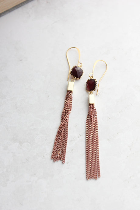 Brick Pink Chain Tassle Earrings NEW