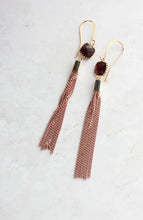 Load image into Gallery viewer, Brick Pink Chain Tassle Earrings