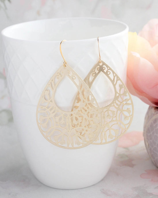 Big Filigree Teardrop Earrings NEW