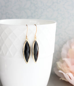 Marquis Drop Earrings - Black
