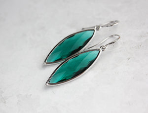 Marquis Drop Earrings - Emerald/Silver