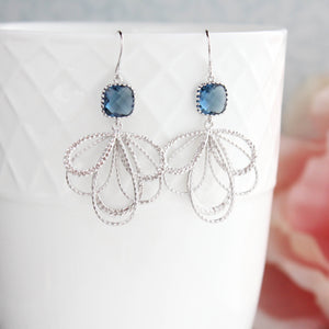 Silver Loop Earrings - Montana Blue
