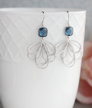 Load image into Gallery viewer, Silver Loop Earrings - Montana Blue