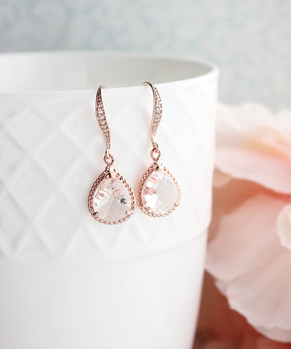 Sparkle Drop Earrings - Rose Gold