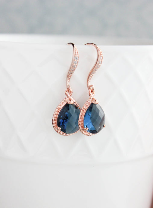 Sparkle Drop Earrings - Montana Blue