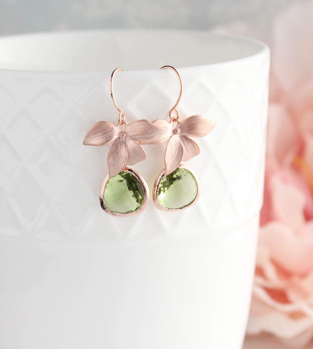 Rose Gold Orchid Earrings - Peridot