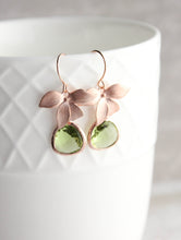 Load image into Gallery viewer, Rose Gold Orchid Earrings - Peridot