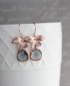 Rose Gold Orchid Earrings - Smoke