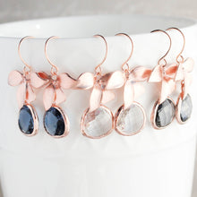 Load image into Gallery viewer, Rose Gold Orchid Earrings - Navy