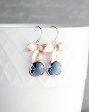 Load image into Gallery viewer, Gold Orchid Earrings - Navy