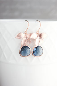 Gold Orchid Earrings - Navy