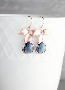 Rose Gold Orchid Earrings - Navy