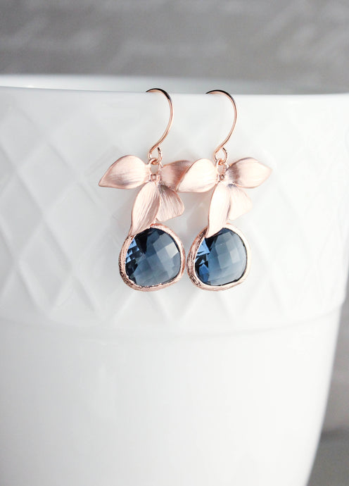 Rose Gold Orchid Earrings - Navy NEW
