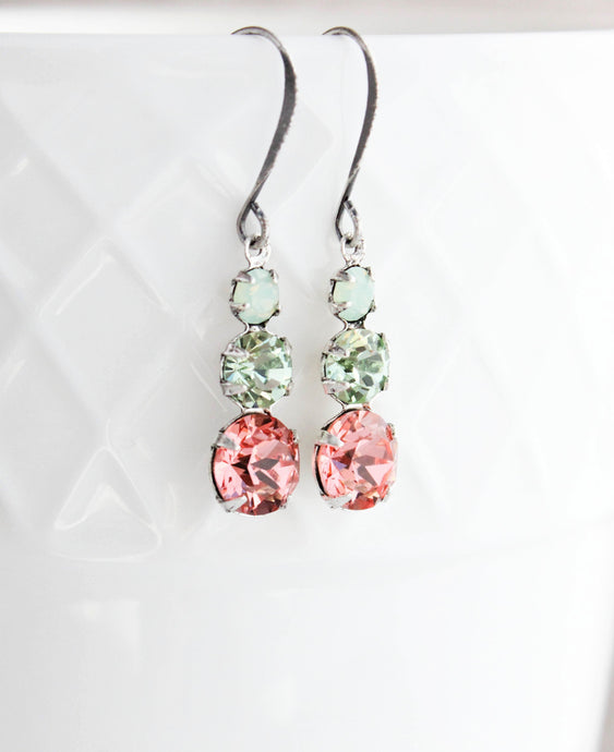 Three Jewel Drop - Pink and Mint