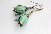Load image into Gallery viewer, Verdigris Tulip Earrings NEW