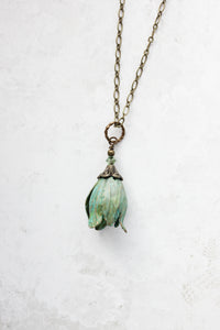 Tulip Necklace - Verdigris Patina
