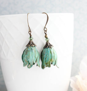 Verdigris Tulip Earrings NEW