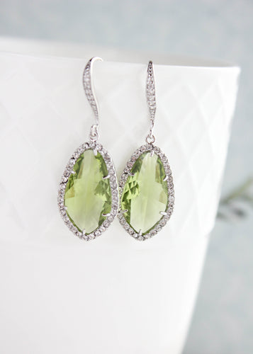Sparkly Dangle Earrings - Green /Silver NEW