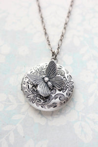 Antiqued Silver Butterfly Locket