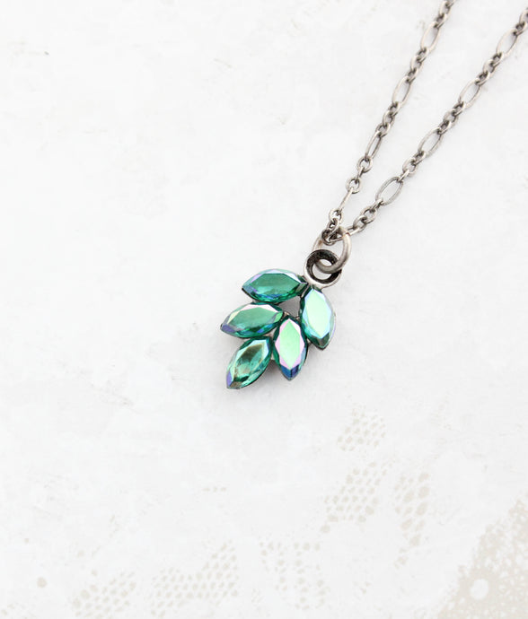 Blue Glass Leaf Necklace