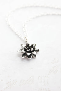Lotus Necklace - Antiqued Silver