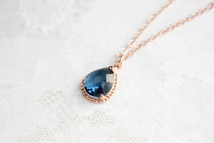 Sparkle Jewel Necklace - Navy NEW