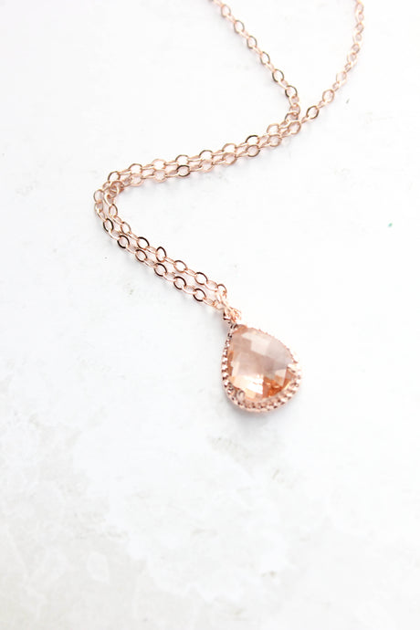 Sparkle Jewel Necklace - Peach NEW