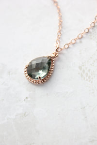 Sparkle Jewel Necklace - Smoke Grey NEW