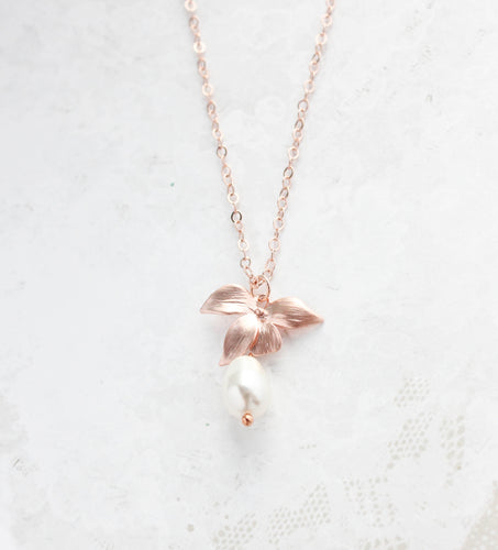 Rose Gold Orchid Necklace NEW