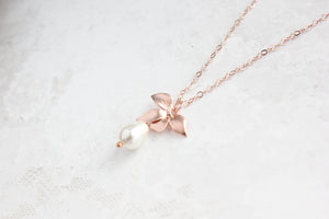 Rose Gold Orchid Necklace