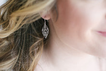 Load image into Gallery viewer, Filigree Leaf Earrings - Silver Rhodium