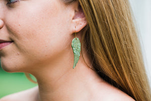 Absinthe Patina Wing Earrings