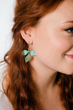 Load image into Gallery viewer, Three Leaf Branch Earrings - Verdigris Patina