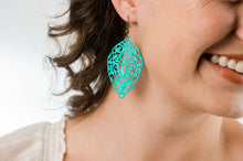 Load image into Gallery viewer, Big Filigree Earrings - Aqua