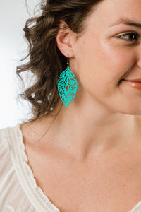 Big Filigree Earrings - Aqua
