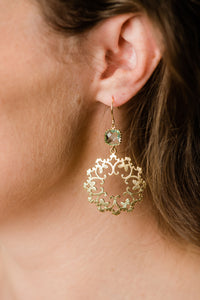 Gold Filigree Earrings - Aqua