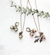 Load image into Gallery viewer, Green Pearl Acorn Necklace
