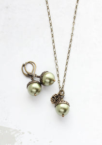 Green Pearl Acorn Necklace