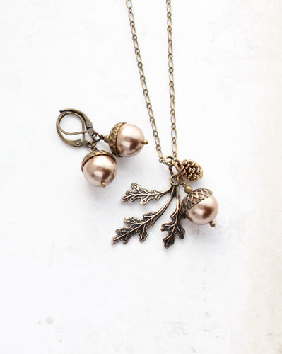 Acorn Necklace - Copper Pearl