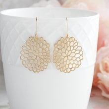 Load image into Gallery viewer, Gold Abstract Mum Earrings