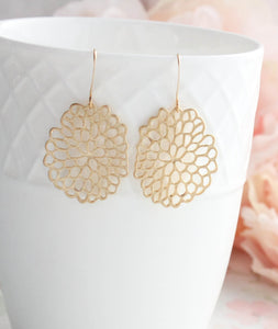 Gold Abstract Mum Earrings