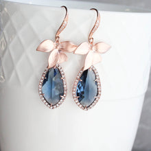 Load image into Gallery viewer, Orchid Sparkle Earrings - Navy/Rose Gold NEW