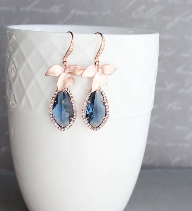 Orchid Sparkle Earrings - Navy/Rose Gold