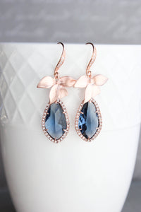 Orchid Sparkle Earrings - Peach/Rose Gold NEW