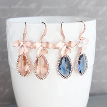 Load image into Gallery viewer, Orchid Sparkle Earrings - Peach/Rose Gold NEW