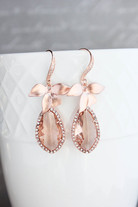 Orchid Sparkle Earrings - Peach/Rose Gold