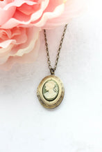 Load image into Gallery viewer, Green Cameo Locket Necklace