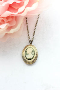 Green Cameo Locket Necklace