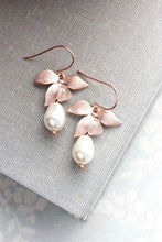 Load image into Gallery viewer, Rose Gold Orchid Earrings - Oxblood